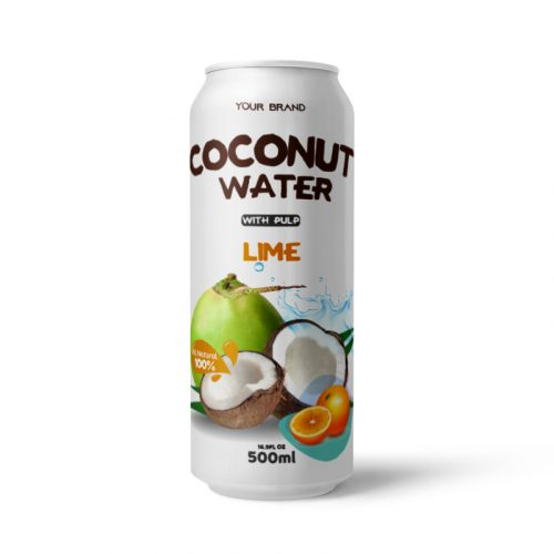 Coconut Water With Pulp Lime 500ml Can