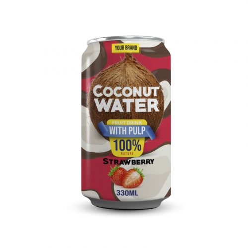 Coconut Water With Pulp Strawberry 330ml Can