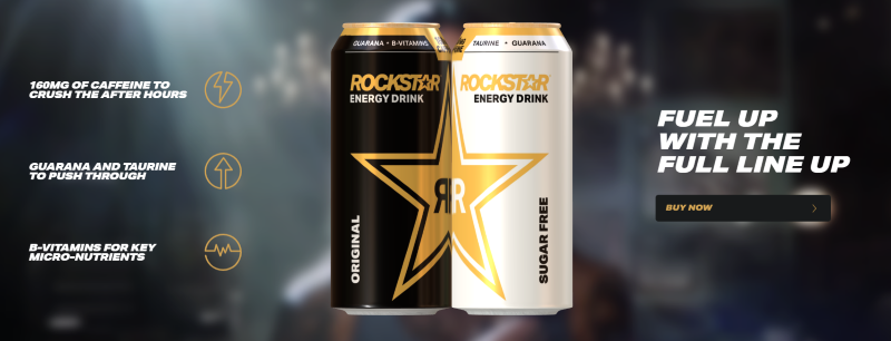 Rockstar is the third biggest giant energy drink brand, just after Redbull and Monster
